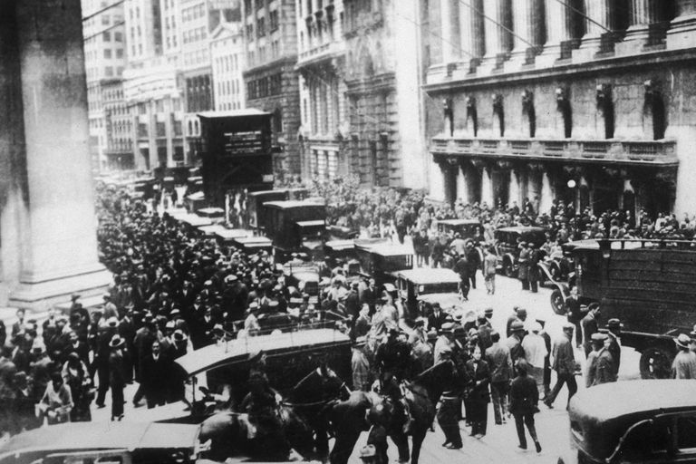 Workers flood the streets in a panic following the Black Tuesday stock market crash on Wall Street, New York City, 1929
