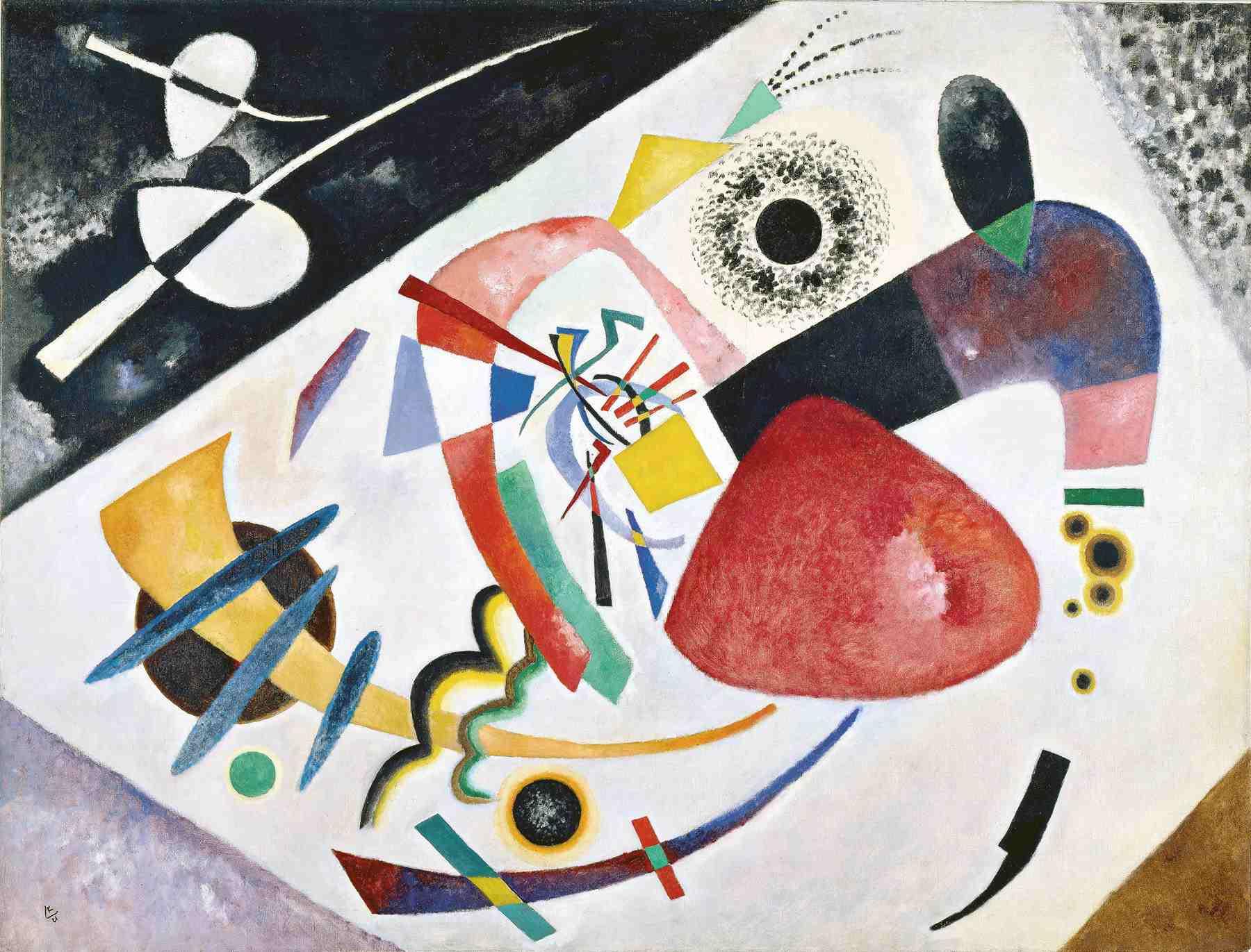 Wassily Kandinsky (Russian, 1866-1944) Wassily Kandinsky (Russian, 1866-1944). Red Spot II (Roter Fleck II), 1921. Oil on canvas. 53 15/16 x 71 1/4 in. (137 x 181 cm). Städtische Galerie im Lenbachhaus, Munich.