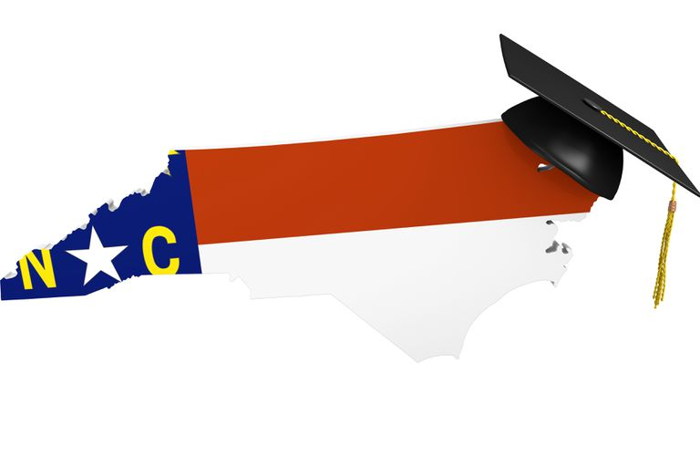 A map of North Carolina wearing a graduation cap, representing higher learning