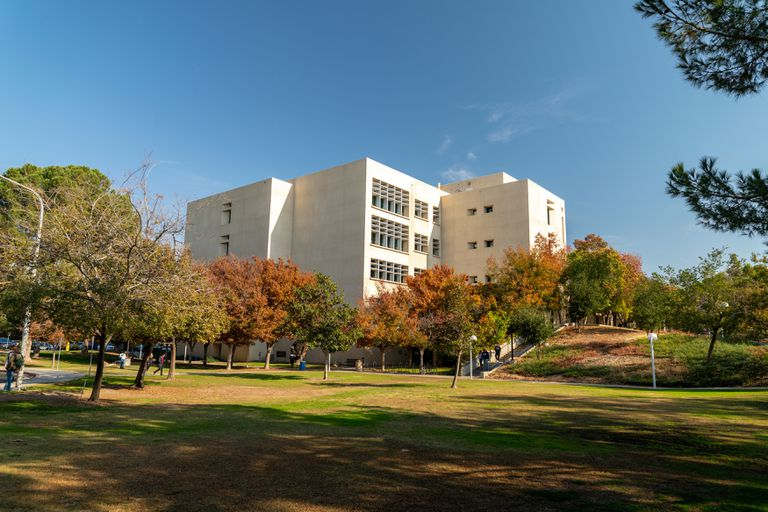 A white angular building, set back behind a grassy quad and several colorful trees