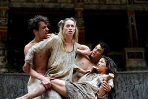 Helena and Demetrius entangled with Hermia and Lysander