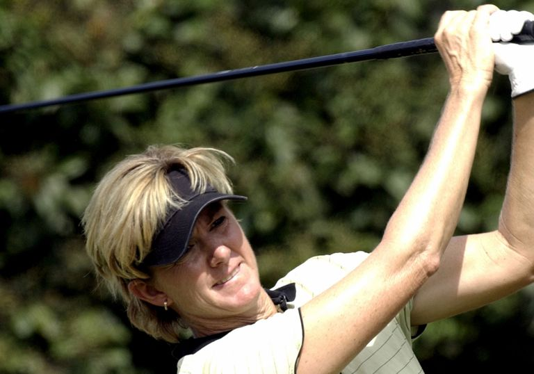Beth Daniel follows a tee shot on the fourth hole Sunday, October 12, 2003 in the final round of the Samsung World Championship