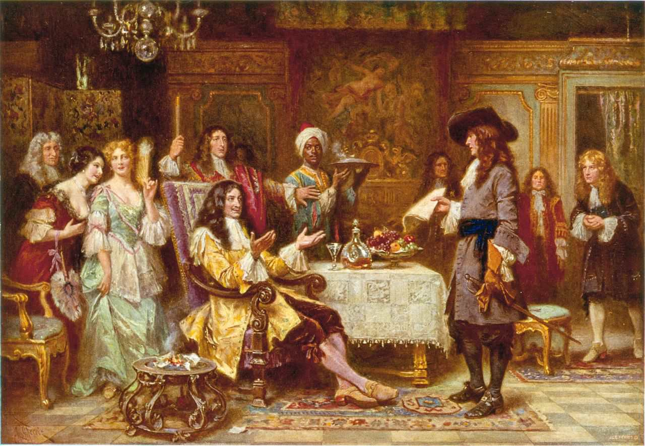 William Penn, holding paper, standing and facing King Charles II, in the King's breakfast chamber at Whitehall. 1 photomechanical print : halftone, color (postcard made from painting).
