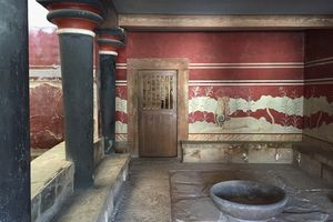 Reconstructed Minoan Palace Room at Knossos, Crete