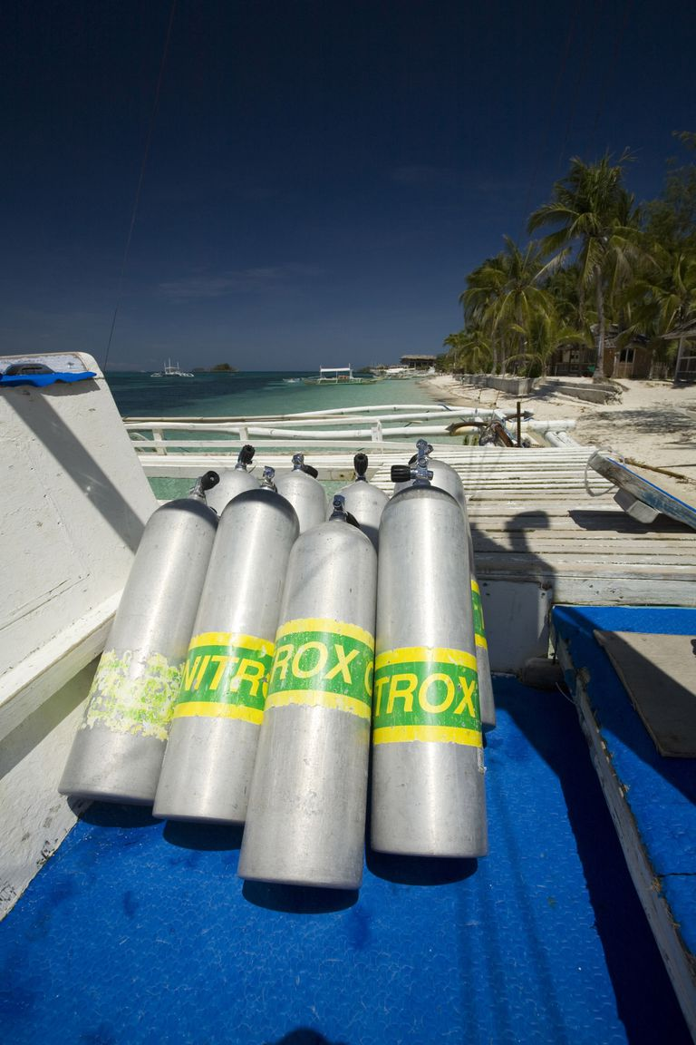 Enriched Air Nitrox Tanks on a Scuba Diving Boat