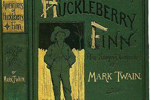 The cover of Huckleberry Finn by Mark Twain