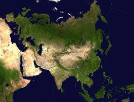 Satellite image of the Eurasian landmass