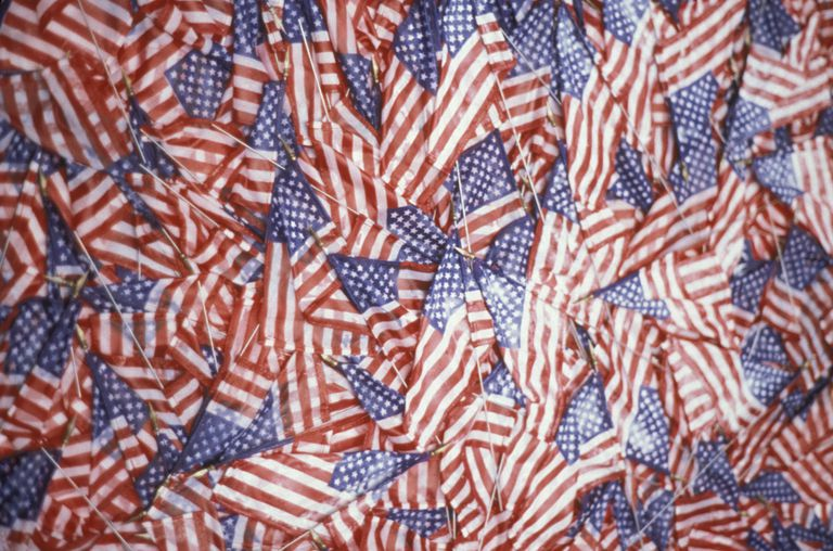 Close up of pile of miniature American flags