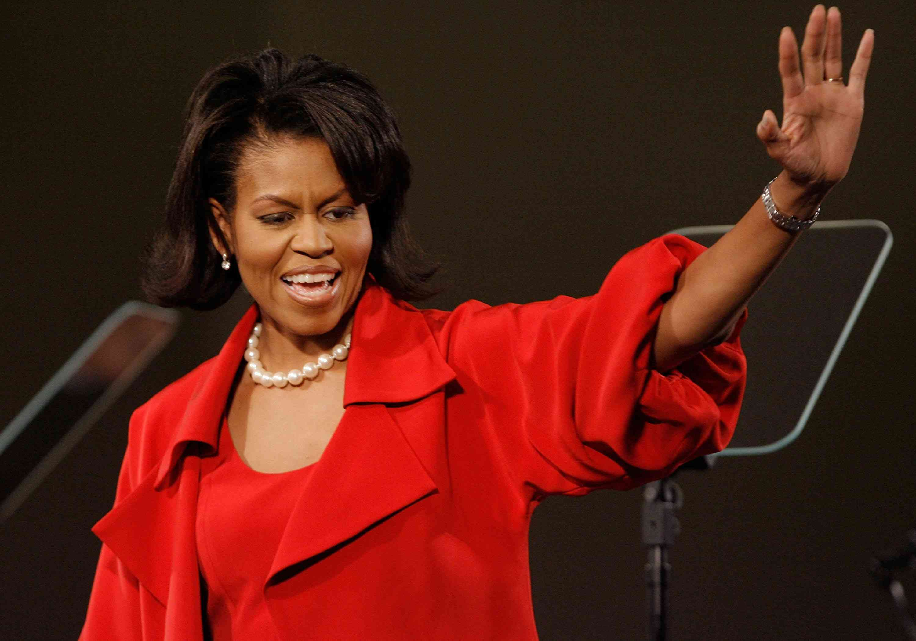 Michelle Obama greets supporters in Chicago.