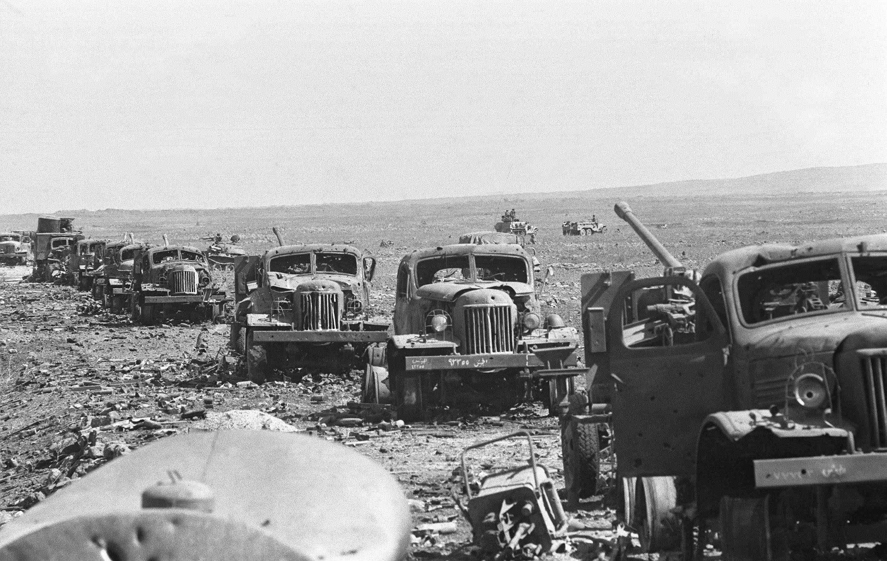 Destroyed Syrian convoy on the Golan Heights, 1973.