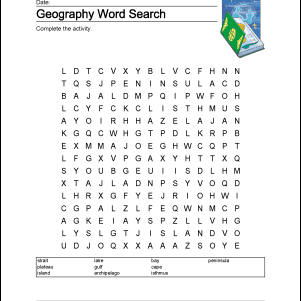 Geography Wordsearch, Vocabulary, Crossword, and More