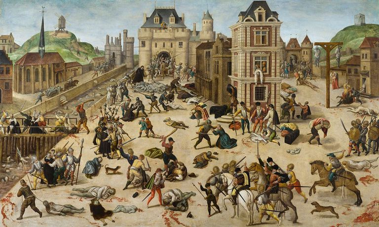 painting showing the St Bartholomew's Day Massacre in Paris in August 1572