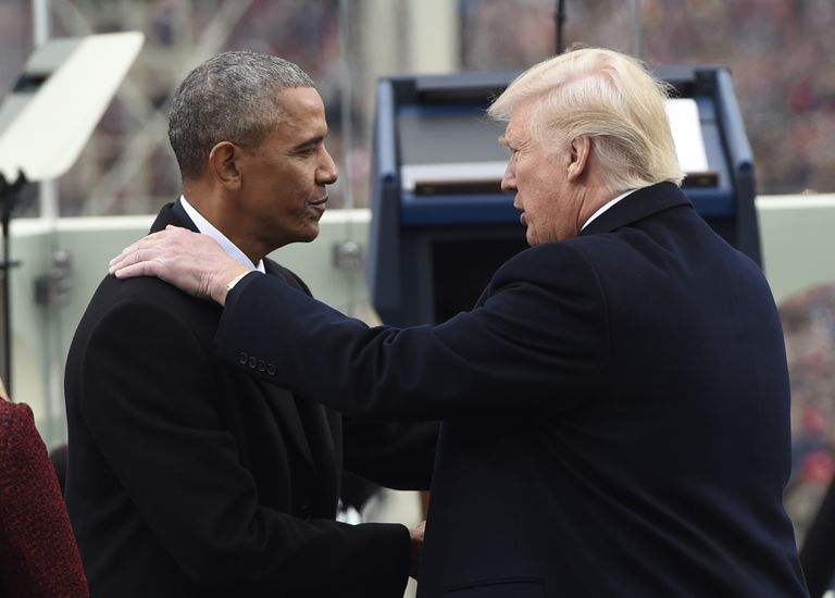 US President Barack Obama shake hands with President-elect Donald Trump at the US Capitol on January 20, 2017 in Washington, DC.