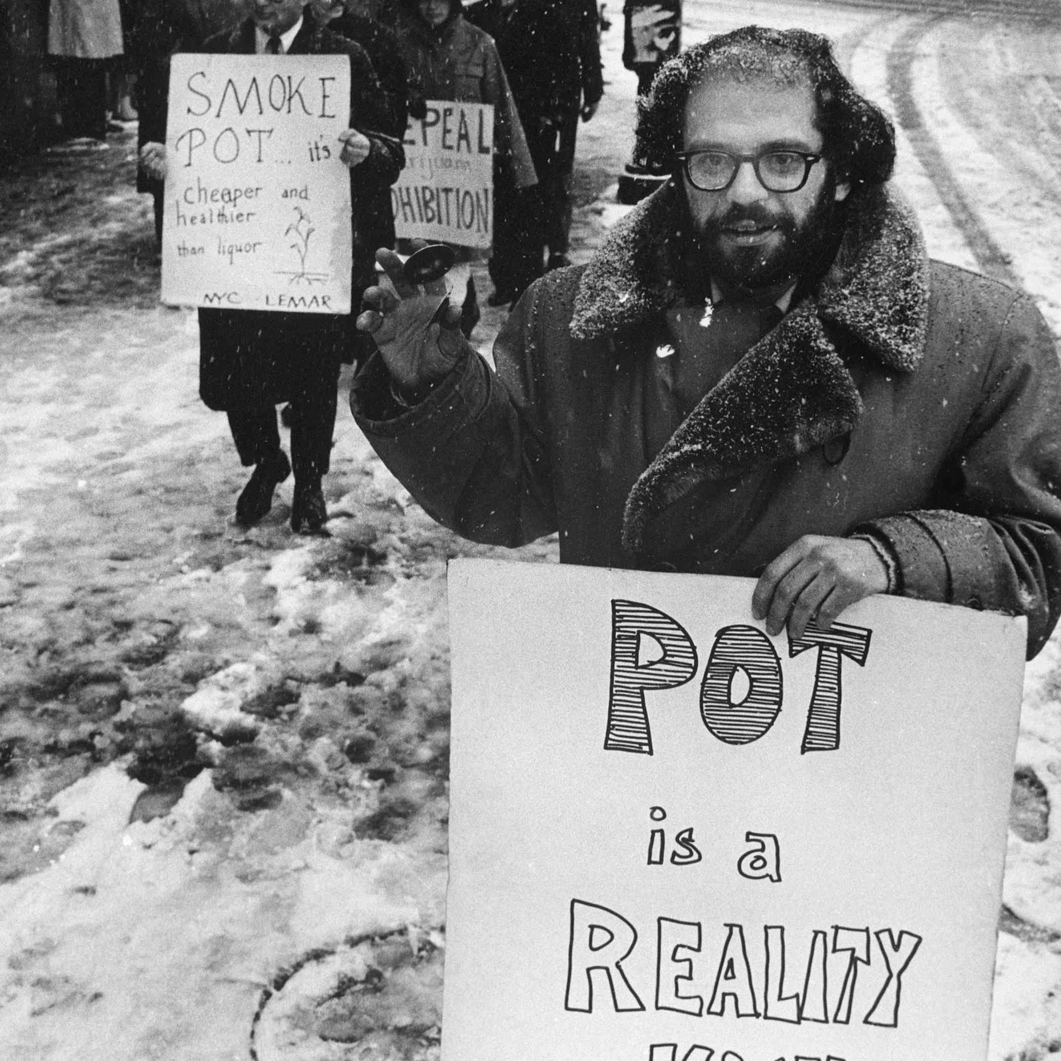 Allen Ginsberg Amongst Protesters at Marijuana Rally