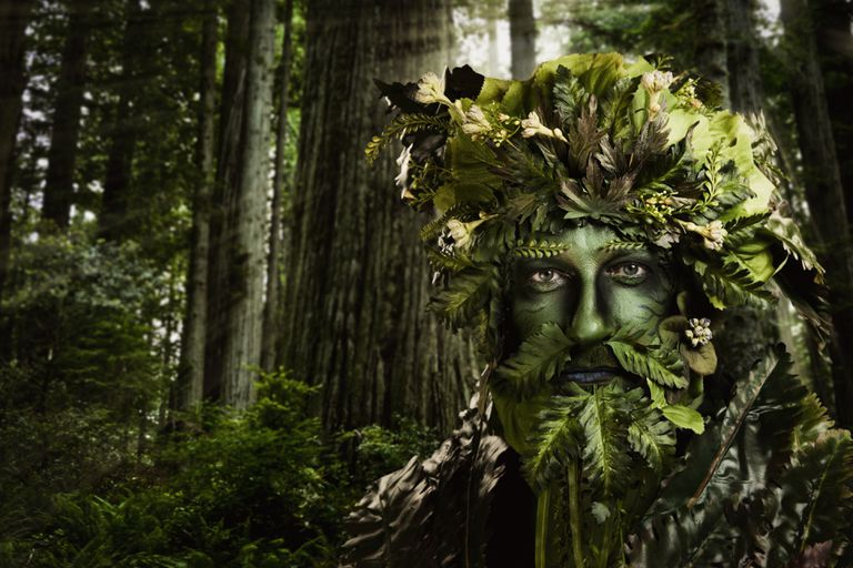 Green man nature character on the forest