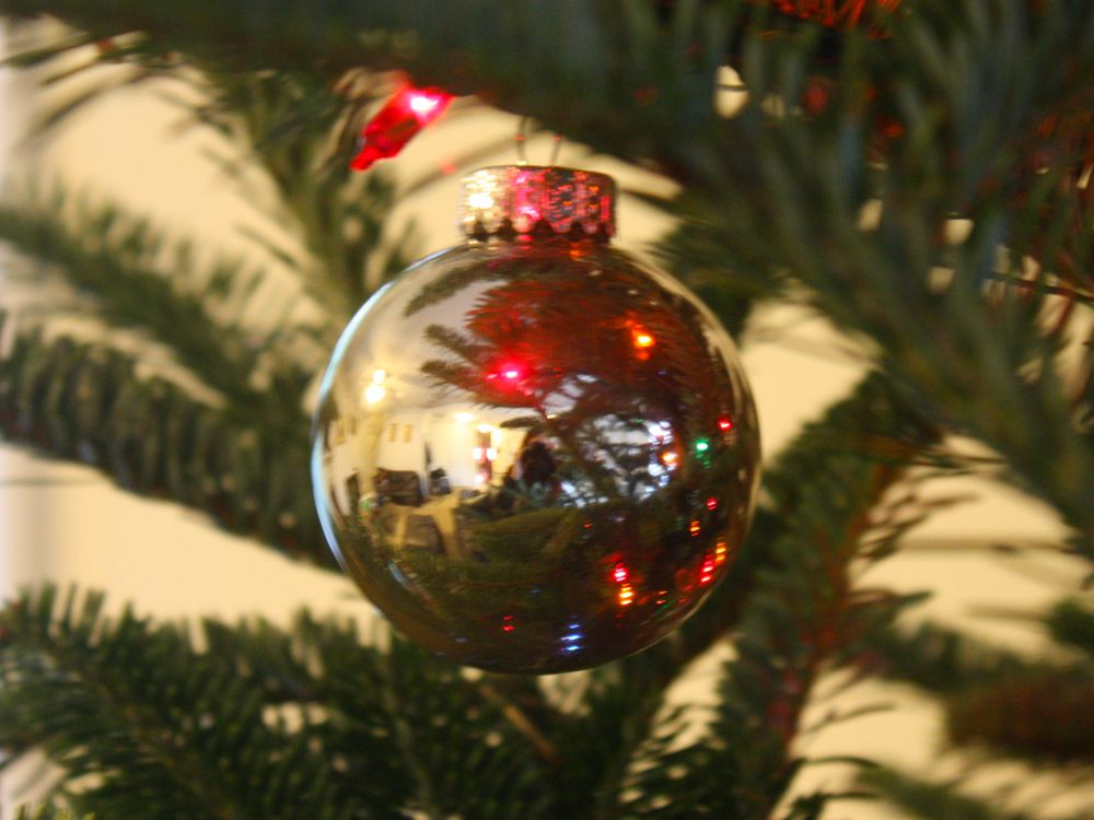 This silver ornament was made by chemically silvering the inside of a glass ball.