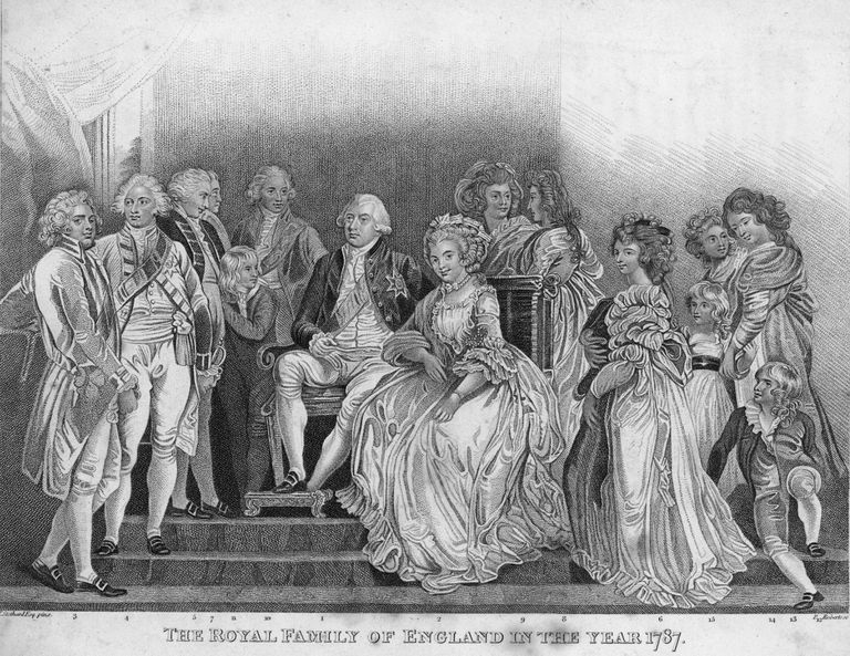 13c0166c The Royal Family of England in the year 1787 - in the centre King George  III (1738 - 1820), and Queen Charlotte Sophia (1744 - 1818), surrounded by  their ...