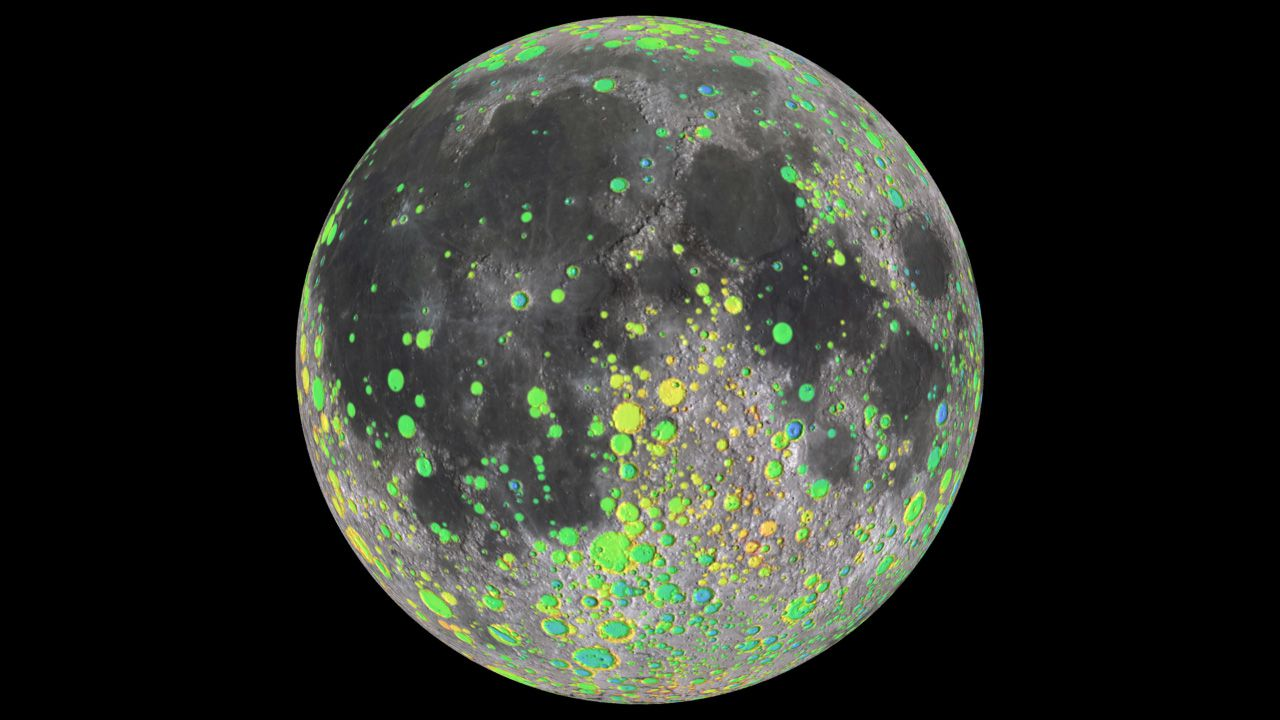 A false-color map of lunar craters made by LRO.