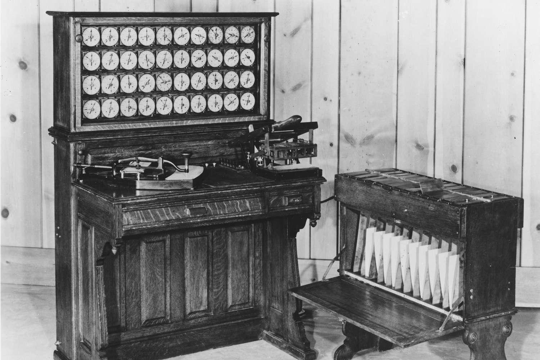 The Hollerith tabulator and sorter box.