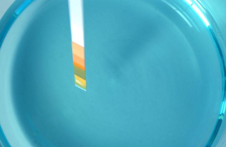 pH test strip in a beaker of blue liquid