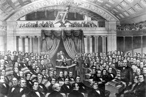 Illustration of Daniel Webster delivering the Seventh of March Speech in 1850