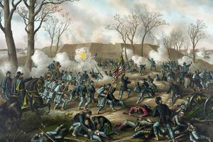 Civil War print of Union and Confederate troops fighting at the Battle of Fort Donelson.