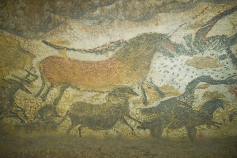 Paleolithic animal paintings in Lascaux Cave