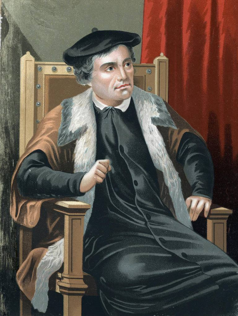 Martin Luther. Portrait of Martin Luther 1483-1546. Chromolithography after Hombres y Mujeres celebres 1877, Barcelona Spain
