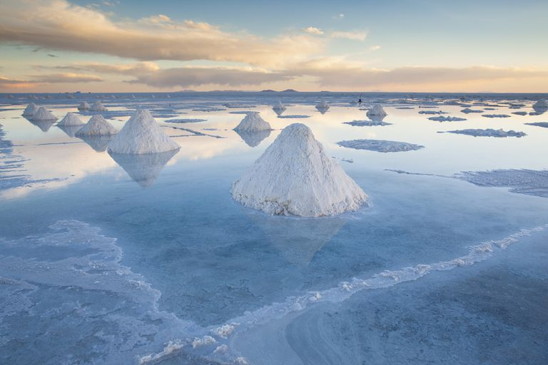 Salt on the plains of Salar de Uyuni, Bolivia