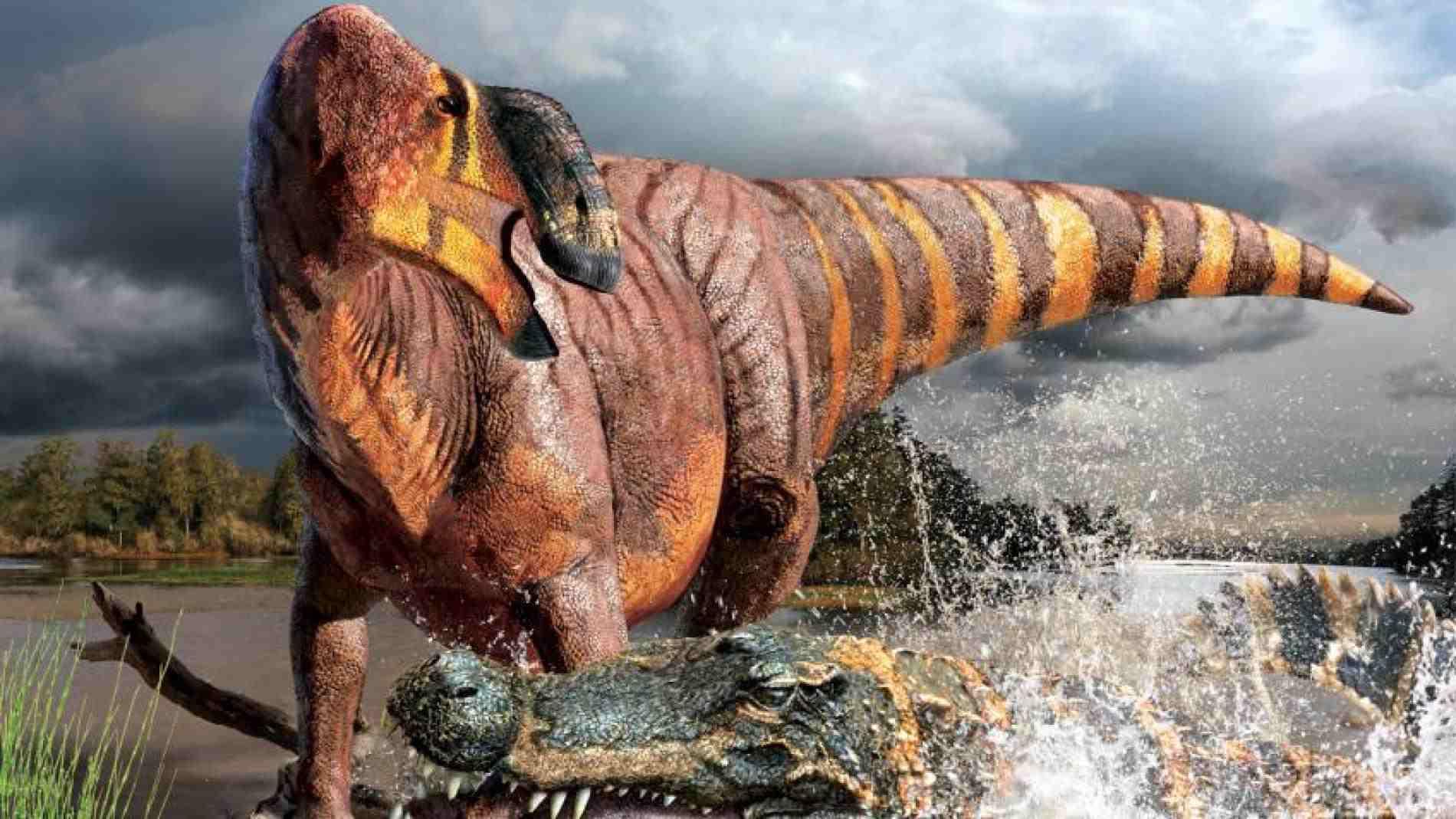 Illustration of Deinosuchus attacking a Rhinorex