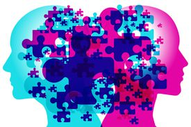 A male and female side silhouette positioned back to back, overlaid with various semi-transparent jigsaw puzzle shapes.