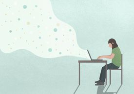 An illustration of a woman who is seated at a desk and working on her laptop. A white cloud with dots emanates from her computer.