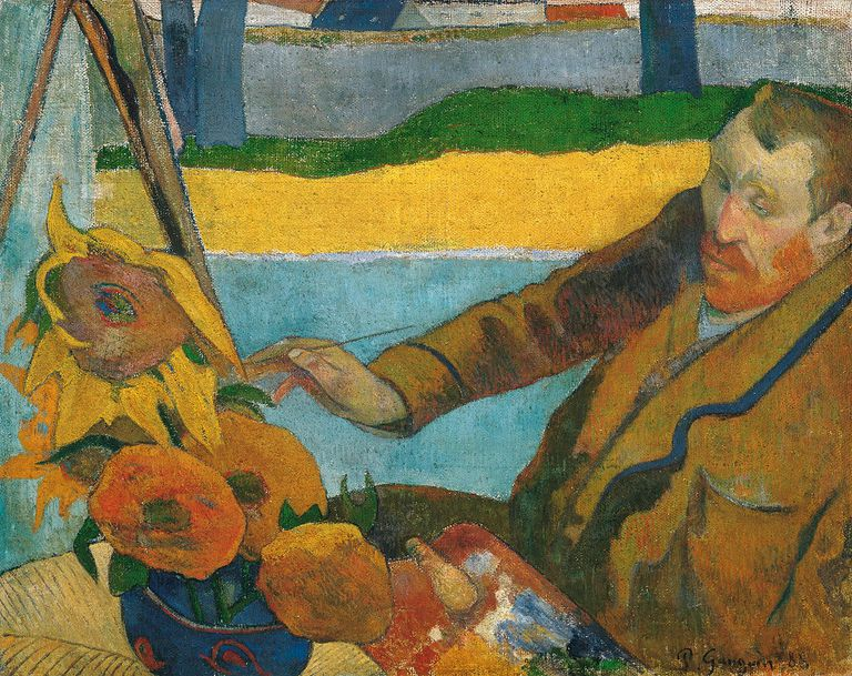 Painting by Paul Gauguin of Vincent van Gogh Painting Sunflowers.