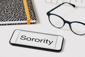 text sorority in the screen of a smartphone