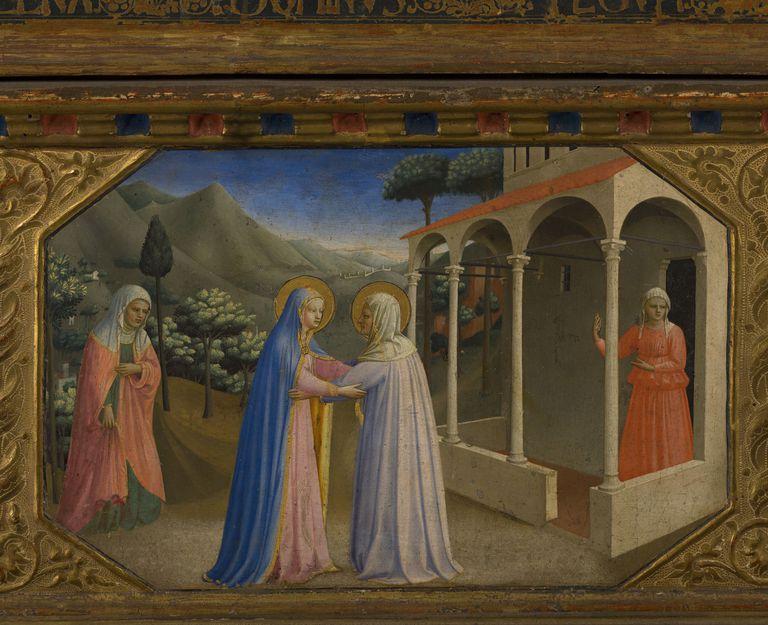 The Visitation (The Annunciation retable with 5 Predella scenes), 1430-1432. Artist: Angelico, Fra Giovanni, da Fiesole (ca. 1400-1455)