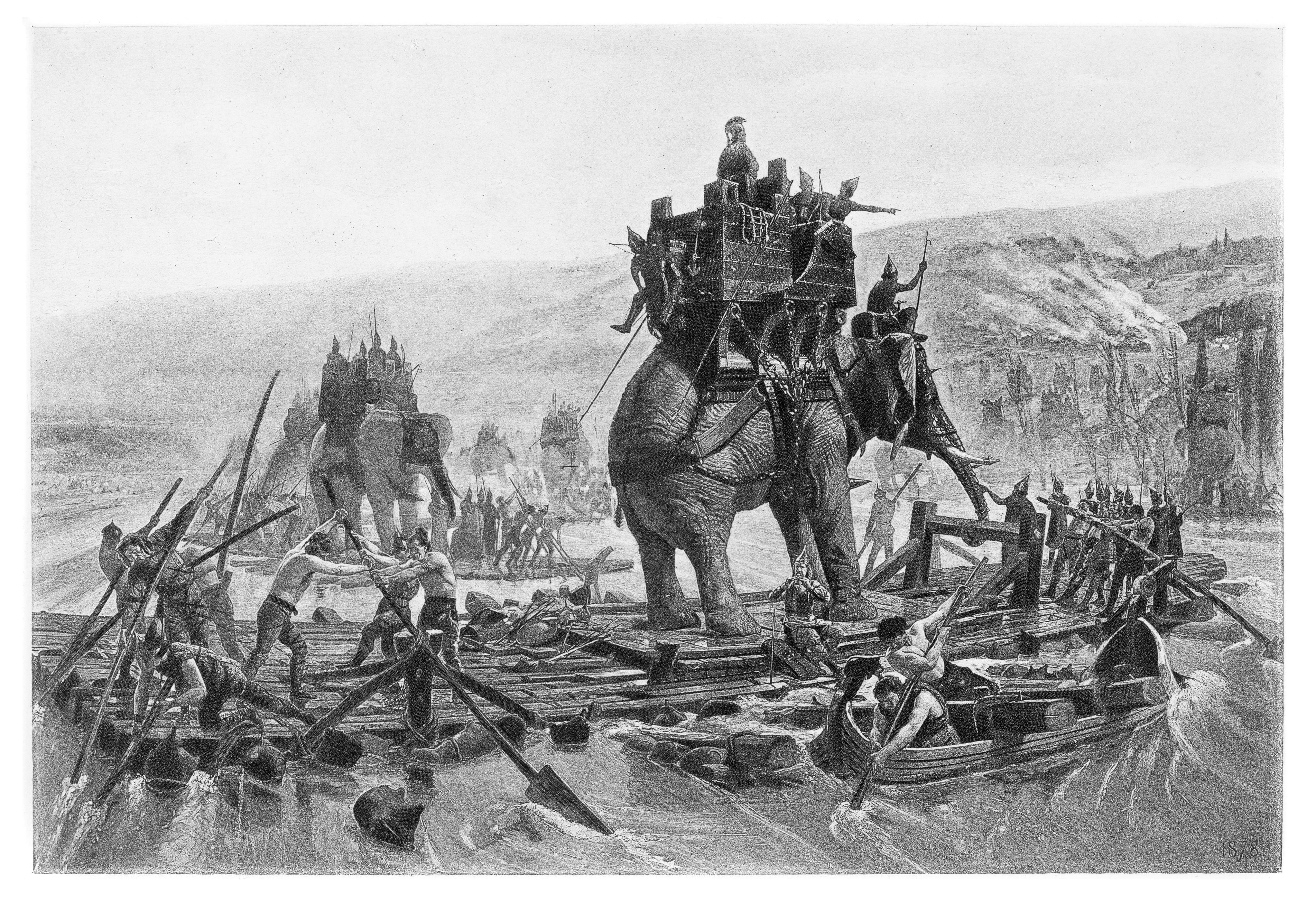 Hannibal crossing the Rhone engraving 1894
