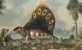 graphic rendering of dimetrodon in wetlands
