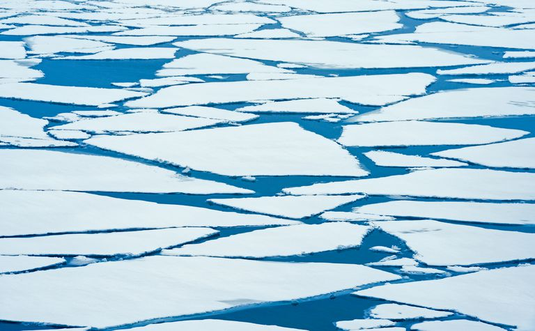 Ice breaking up on Lake Superior in late winter Nipigon Ontario Canada.