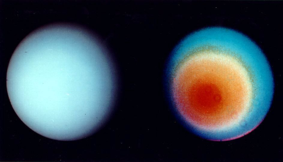 Two views of Uranus from Voyager 2.
