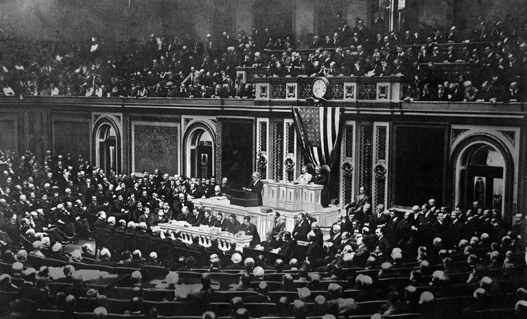 WASHINGTON D.C. - APRIL 2: President Woodrow Wilson asks Congress to send U.S. troops into battle against Germany in World War I, in his address to Congress in Washington D.C. on April 2, 1917.