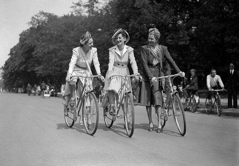 Women cycling in Paris during World War II.