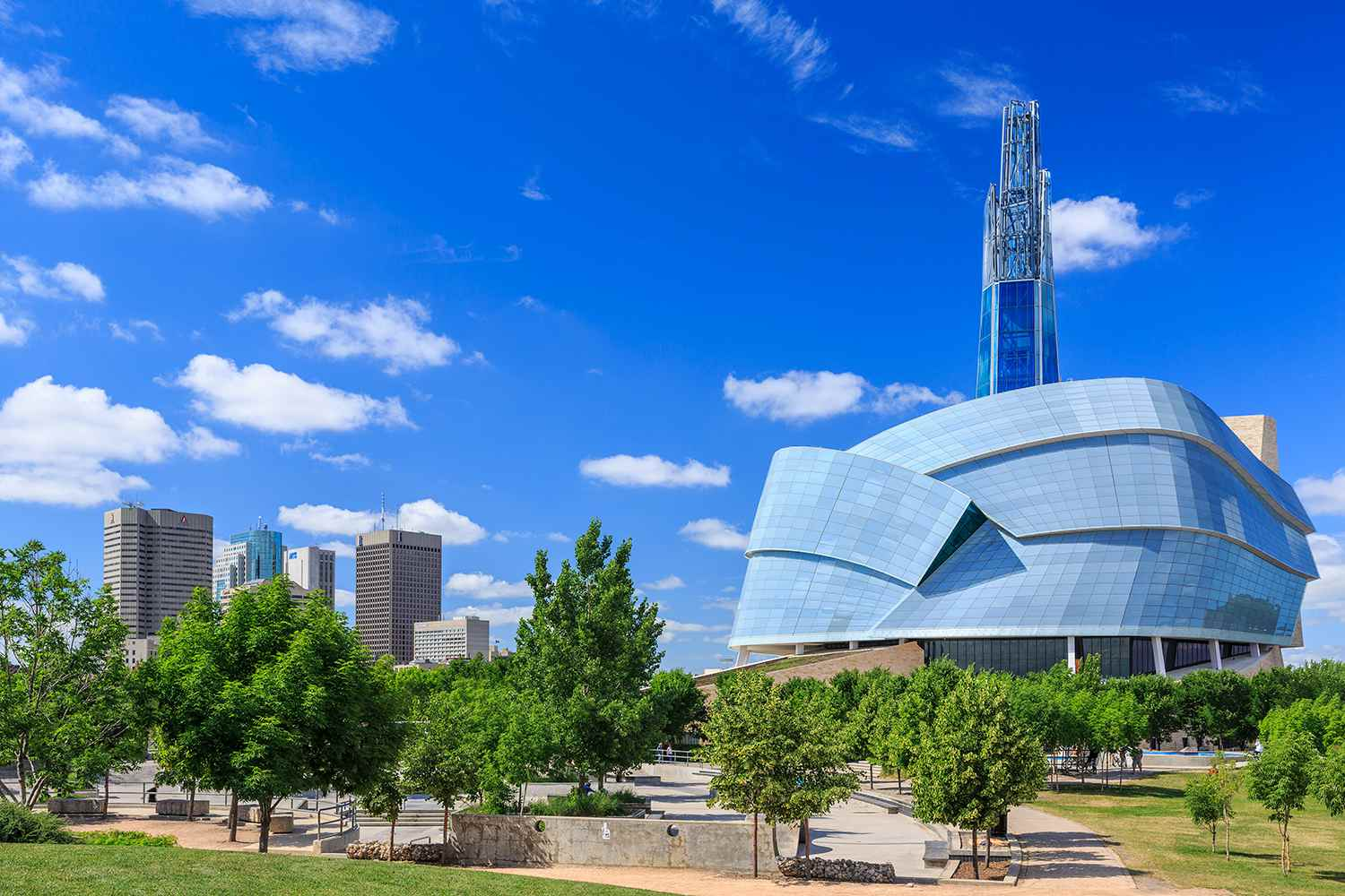 The postmodern architecture of the Canadian Museum for Human Rights at the Forks in Winnipeg