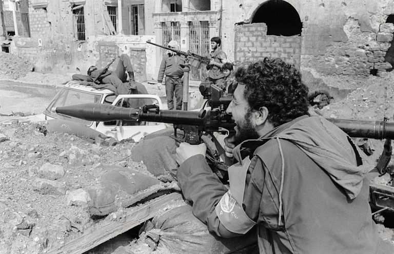Soldiers fighting during the Lebanese Civil War.