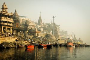 Burning ghats of varanasi with ancient temples