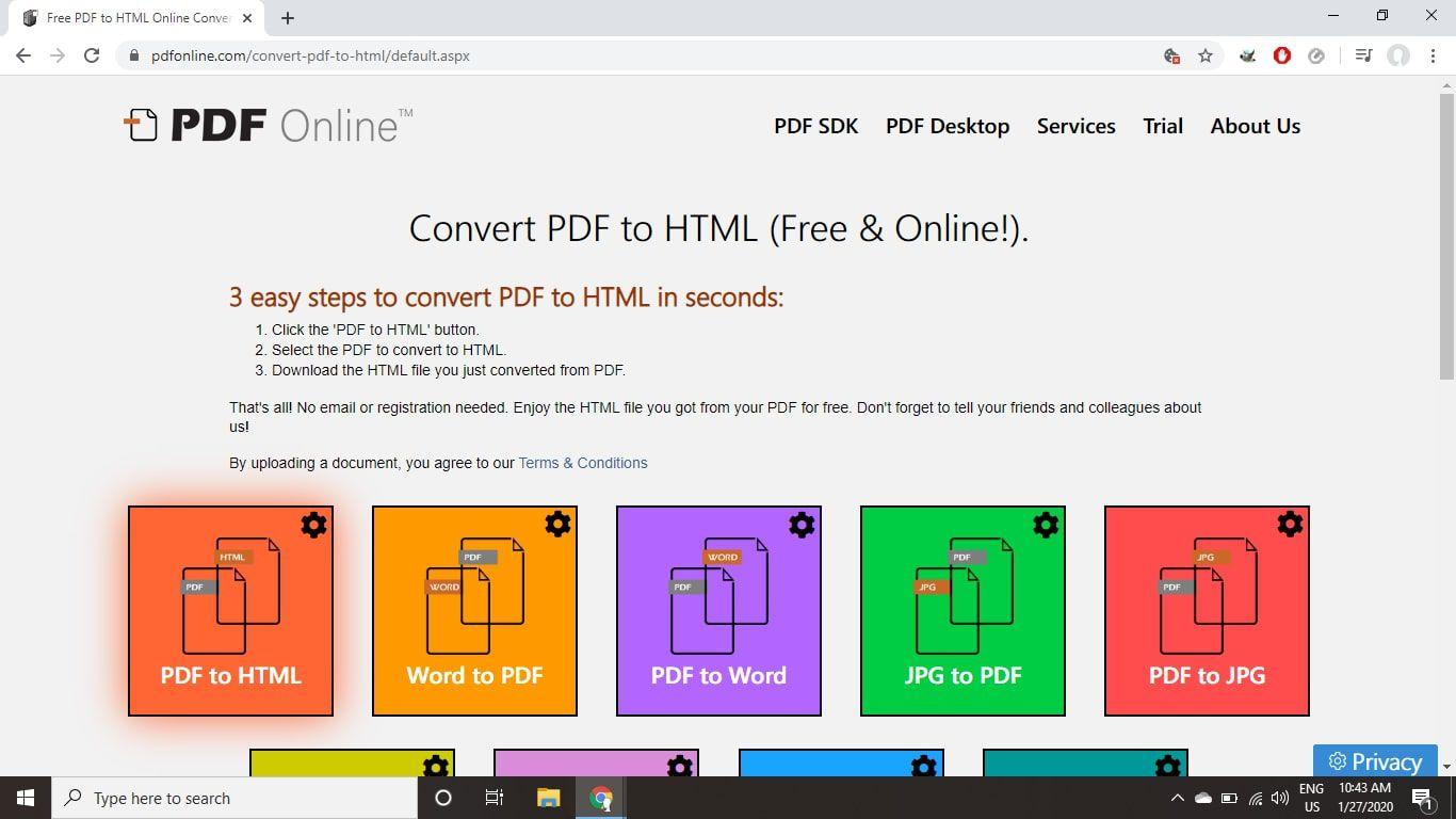 PDF Online PDF-to-HTML converter