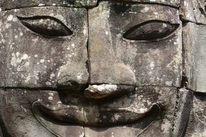Close up of Sculpted Architectural Head, Angkor Wat.