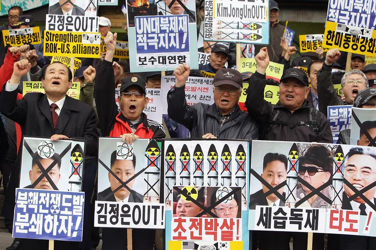 South Koreans protest the North Korean regime