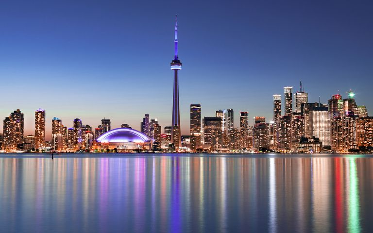 City skyline reflected in Lake Ontario