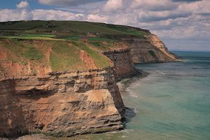 Boulby Cliffs, the highest cliffs on England's east coast exemplify the hilly terrain of Boulby, Redcar & Cleveland, England