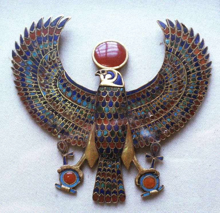 Pectoral jewelry from the tomb of Tutankhamen, showing the god Horus as a falcon.
